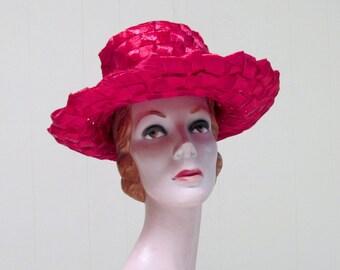Vintage 1960s Hat / 60s Crimson Cello Straw Wide Brim Sun Hat