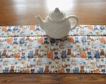 Kitty Table Runner . Cat Table Runner . Crazy Cat Lady Table Runner . Reversible  Quilted Table Runner . Quilted Centerpiece .