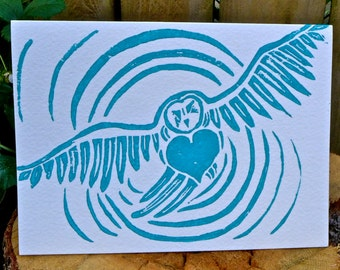 5 Hand Made Spirit Owl Block Print Art Card Set - Aqua on White