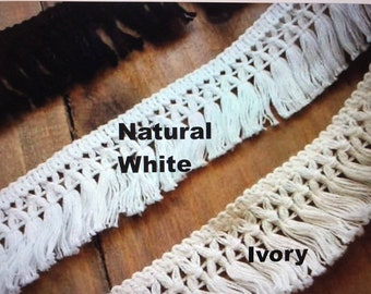 "1.5"" Soft Cotton Fringe,  Black white ivory,  Cotton  Tassel Fringe, cotton tassel fringe  #OR01"