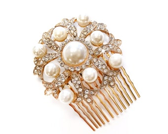 Comb - Gold with Ivory Pearls - Vintage Style Hair Piece - Bridal Comb - Wedding Hair Comb - Rhinestone Brooch - Wedding Hairpiece