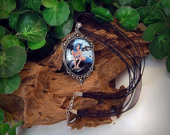 Blue Mermaid Fantasy Art Victorian Cameo Pendant Necklace  40x30mm