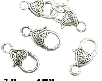 Heart Clasp, silver plated, 4 pcs  **FREE Shipping with orders 10 dollars+ **
