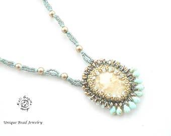 "Beaded Stone with Swarovski crystals ""Nomade"" pendant"
