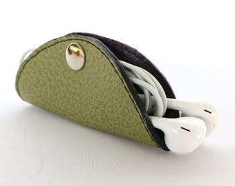 Cordelia Cord Wrap:  Two-tone leather wrap in Olive Green and Mulberry Purple