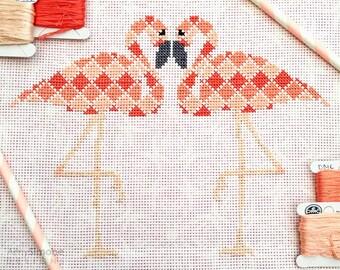 Flamingos Geometric Cross Stitch Pattern