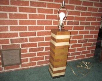 Vintage 1970s Large Stacked Wood Metal and Acrylic Pillar Lamp