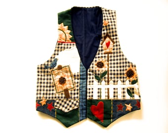 Charming Womens Vest Cottage Style Appliqued Sunflowers Birdhouse Garden Design Flower Vintage Clothing Vest Gifts for Her
