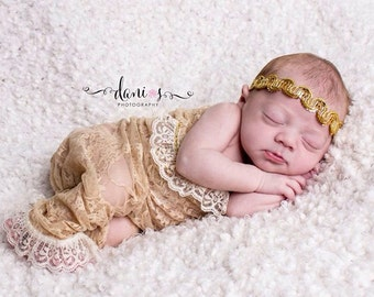 Gold newborn stretchy lace rompers tieback 2 pieces set for photo props NB/3 months