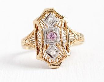 Vintage Filigree Ring - 14k Rosy Yellow Gold Genuine Pink Sapphire Diamond Shield Statement - Art Deco 1930s Size 6 Dinner Ring Fine Jewelry