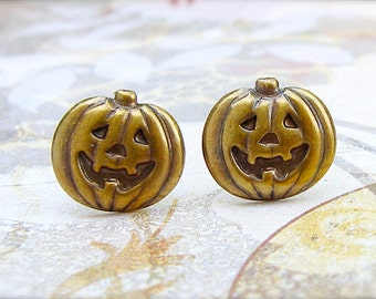 Boo - antique brass post earrings