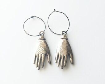 Minimal Industrial Silver Metal Hoop Oversized Hand Pendant Earrings