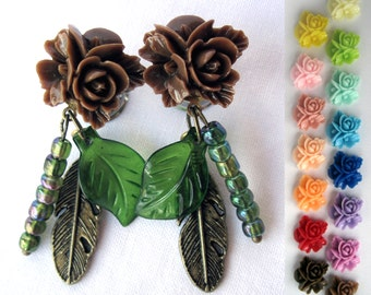 """Unique Flower Dangle Plugs with Charms and Beads - Dangle Plugs - Gauges - 0g, 00g, 7/16"""", 1/2"""" (8mm, 10mm, 11mm, 12mm)"""