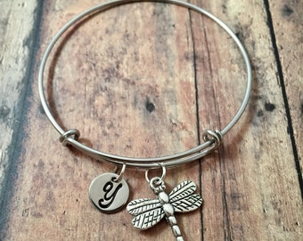 Dragonfly initial bangle - dragonfly jewelry, insect bracelet, silver dragonfly jewelry, insect jewelry, dragon fly pendant, bug bracelet