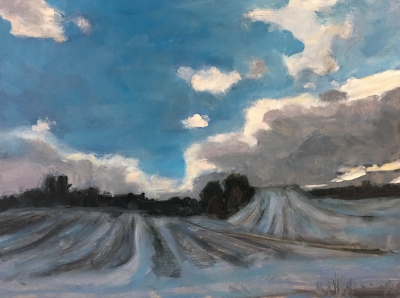 "Original Oil Painting: Blue Winter, 12"" x 16"""