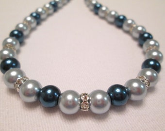 Light and Dark Blue Pearl and Crystal Necklace (18 1/2 Inches)