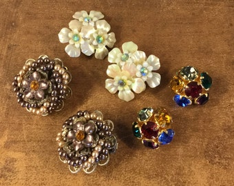 Three Pair Lot Vintage Earrings Seed Bead and Topaz Rhinestone Summer Flower Cluster and Jewel Toned Crystal All Clip On