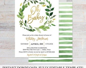 Greenery and Gold Shower Invite Printable, Editable Baby Shower Invitation, Editable Baby Shower Invite, Invite Instant Download