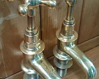 Vintage Brass basin taps, polished brass