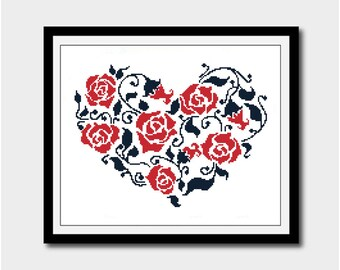 Heart Silhouette, Black and Red Silhouette Pattern, Cross Stitch Pattern, Silhouettes, PDF - PATTERN ONLY