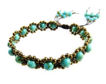 Bracelet Turquoise Beads Macrame Thai Surfer Tribal Boho Adjustable Gypsy