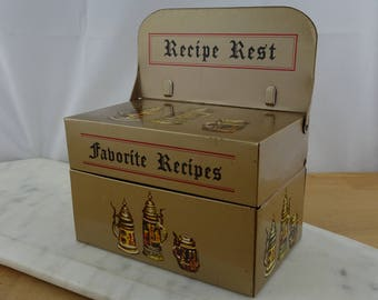 Vintage Tin Recipe Box,  Metal Storage Container Made in Japan