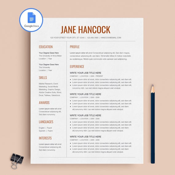 Google Docs Resume Google Docs Resume Template Professional