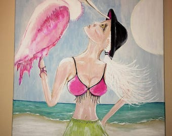 Beach Woman with Spoonbill - Signed by the Artist