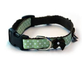 Green Polka Dog Dog Collar