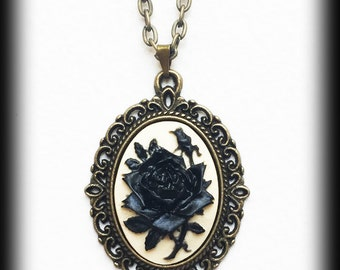 Black Rose Necklace, Gothic Victorian Cameo Pendant, Antique Bronze Frame, Gothic Valentine Gift, Romantic Jewelry, Handmade Jewellery