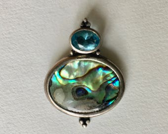small abalone and blue stone sterling pendant