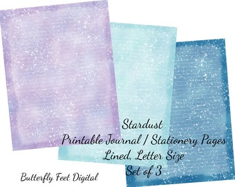 Stardust Printable Lined Journal Pages, Printable Stationery, Set of 3, Letter Size, Instant Download