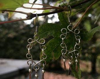 Wire Wrapped Hand-hammered Earrings