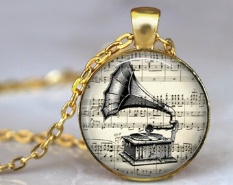 Antique Phonograph Necklace Pendant Music Jewerly Vintage Phonograph Art Image Antique writing Handmade Glass Pendant Jewerly