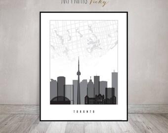 Toronto map, Toronto poster, print black and white, Toronto skyline, Travel, Wall art, Gift, Canada, City poster, Home Decor, ArtPrintsVicky