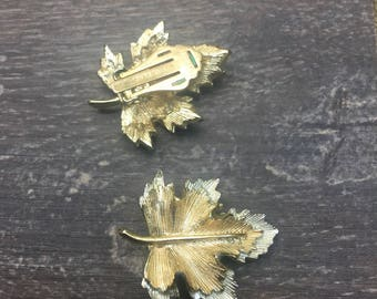 Intage clip back Sarah Coventry  Earrings Autumn / Fall Leaves
