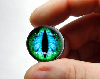 Glass Eyes - Green Blue Dragon Eyeball Flat Cabochons for Steampunk Jewelry - Pair or Single - You Choose Size