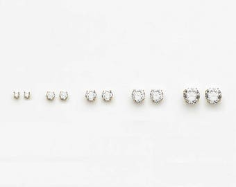 14k Solid White or Yellow Gold Cubic Zirconia Round Stud Baby Girls Children Screwback Earrings