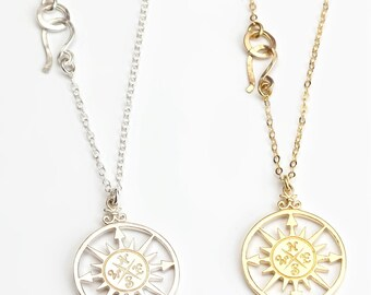 Compass necklace sterling silver 925,Graduation gift, Best friend gift,  Friendship card, compass charm, Friendship necklace,  sisters gift