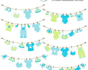 Baby Laundry Line Clipart Set - clip art set of blue and green laundry, baby clothes - personal use, small commercial use, instant download