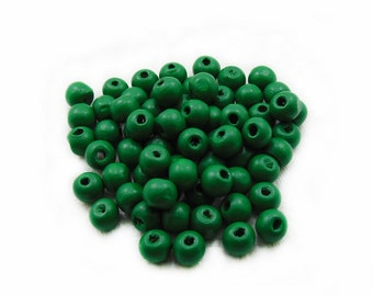 7mm Green Wooden Beads, Wood Beads, Round Beads, 7mm Beads, Ball Beads, Jewelry Making, DIY Beads
