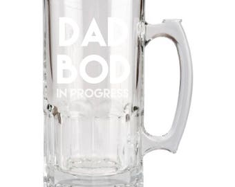 Dad Bod in Progress, Fathers Day, Beer Mug, 34 Oz, Engraved, Father's Day, Birthday Gift ,Super Dad, Gift for Dad, Daddy, Father, Stein