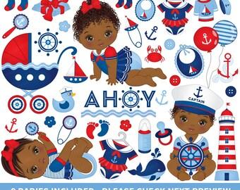 Nautical Baby Girl Clipart - Vector Nautical Clipart, Baby Clipart, Newborn Clipart, African American Clipart, Nautical Baby Girl Clip Art