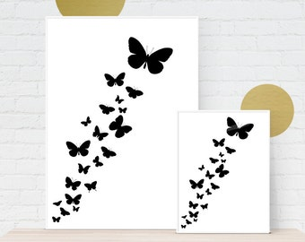 Digital Download, Butterflies Flock Abstract Black and White Watercolour Style Art Graphic Print  - Instant Download, Printable to A3