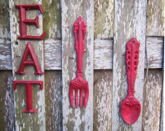 Large Fork and Spoon - Fork and Spoon Kitchen Decor - Eat Sign - Fork and Spoon Wall Art - Kitchen Eat Letters - Kitchen Sign