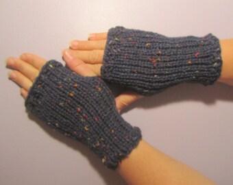 Fingerless Gloves - Navy Blue with Bright Color Flecks Hand Knit Fingerless Gloves
