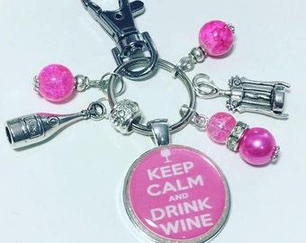 Wine lover gift, Wine drinker gift, wine keyring, wine keychain, Keep calm and drink wine