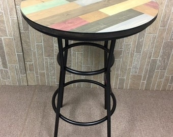 Rustic Man Cave Multi Colored Pine Wood And Black Metal Finish Bar Table  With A