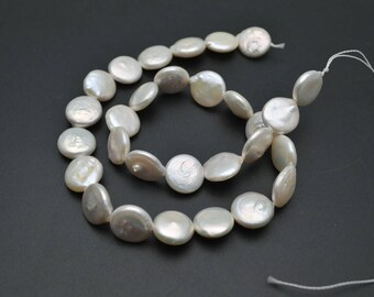 Natural White Fresh Water Pearl Flat Round Coin loose beads