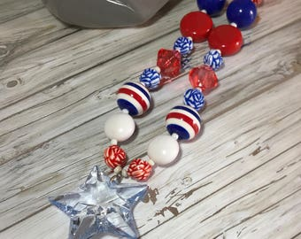 Beaded Acrylic/Resin Chunky Necklace,  Statement Necklace,  Chunky Bead Necklace /Red/White/Blue, Jewelry, Gift, Patriotic, Star